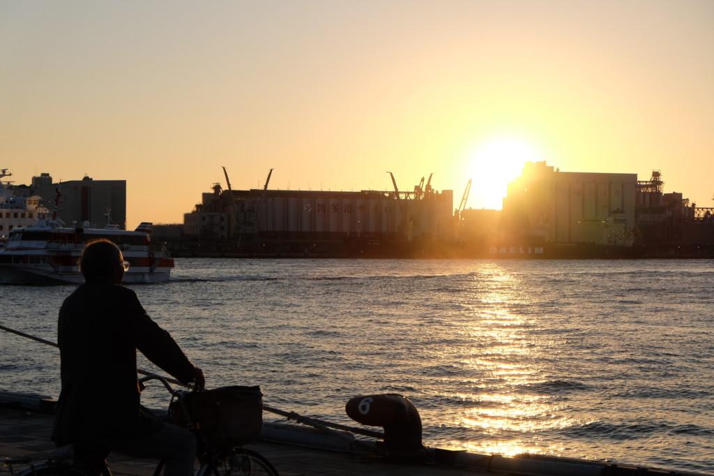 ベイサイドプレイス博多の夕日3