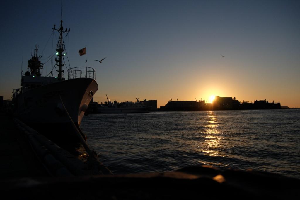 ベイサイドプレイス博多の夕日4